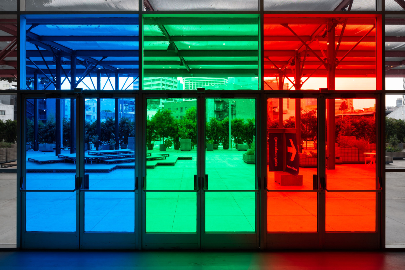 Installation view of multicolor doors leading to the MOCA