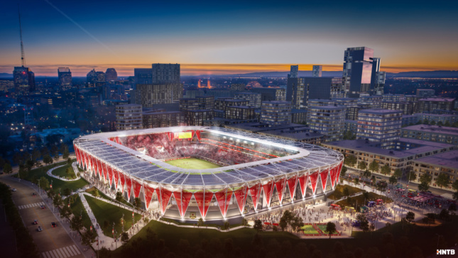 Aerial rendering of square-shaped soccer stadium with red inverted triangles acting as supports beneath a solar-powered canopy