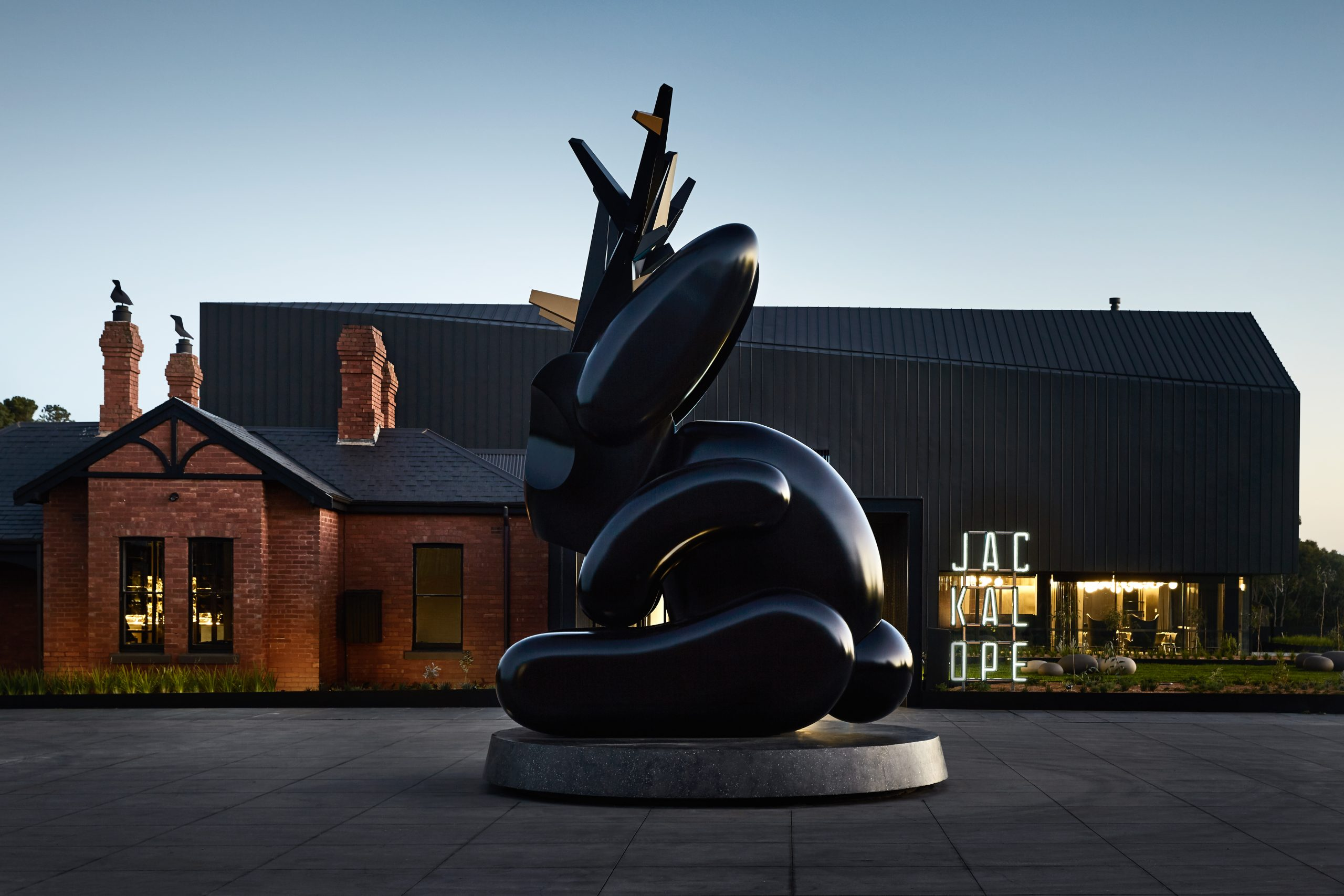 Statue of a giant jackalope in Melbourne