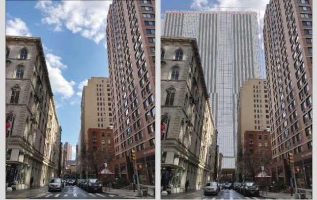 Side by side comparison of New York street with second image of tower covering a city block