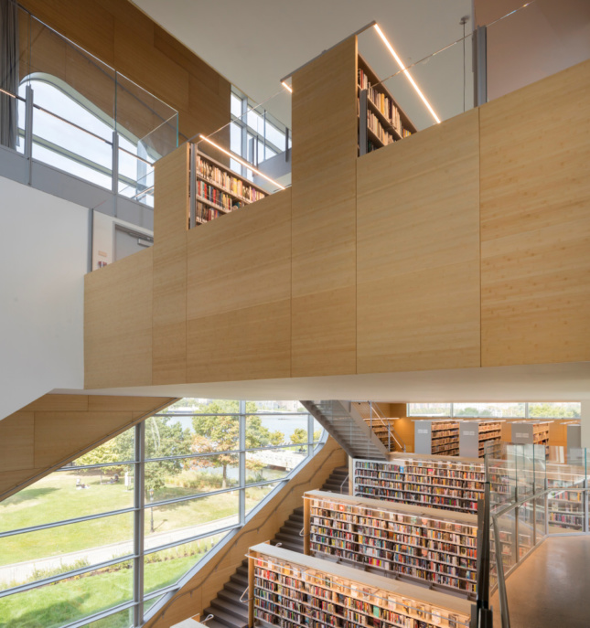 Interior view of a timber-clad library space