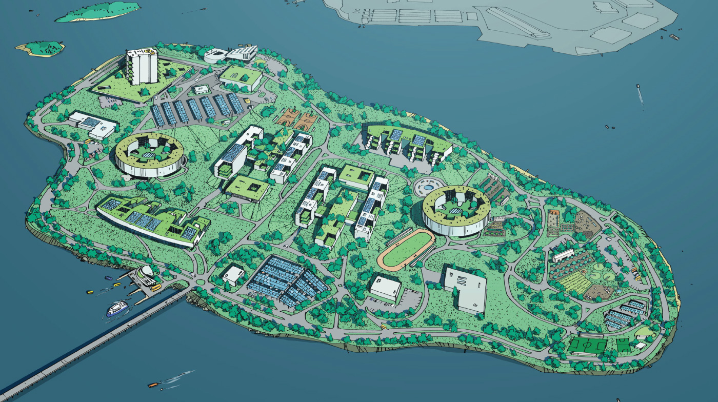 A drawing of Rikers Island in New York shows a new proposal for the jail system