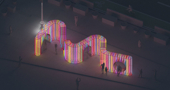 rendering of a multi-colored art installation located in a public plaza in new york city