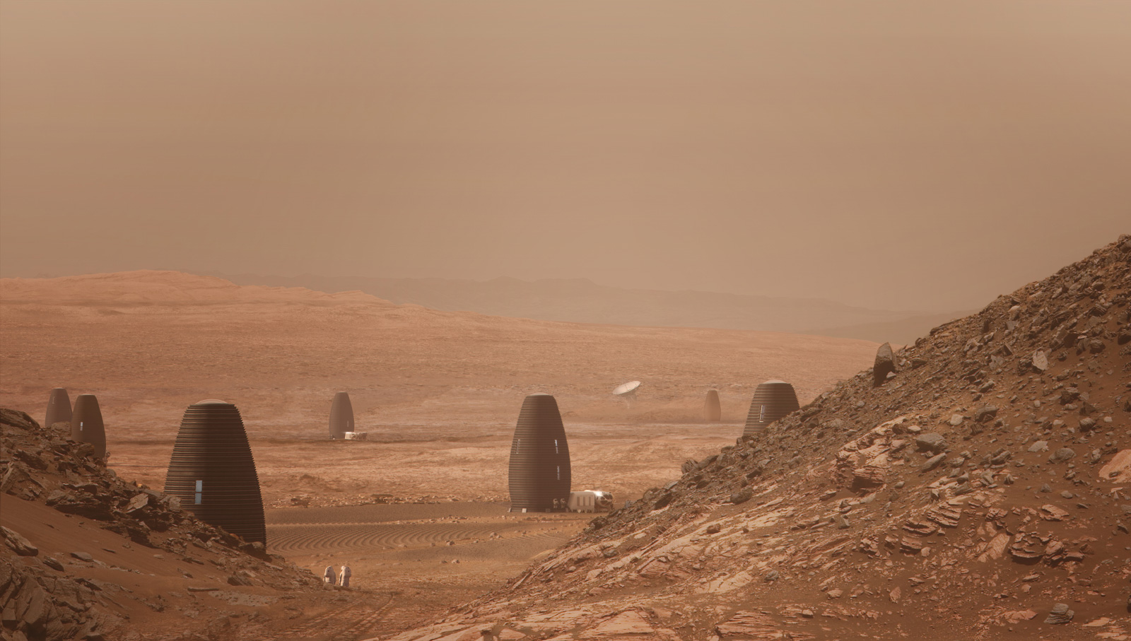 Several hive-shaped structures on the Martian surface, an example of space design