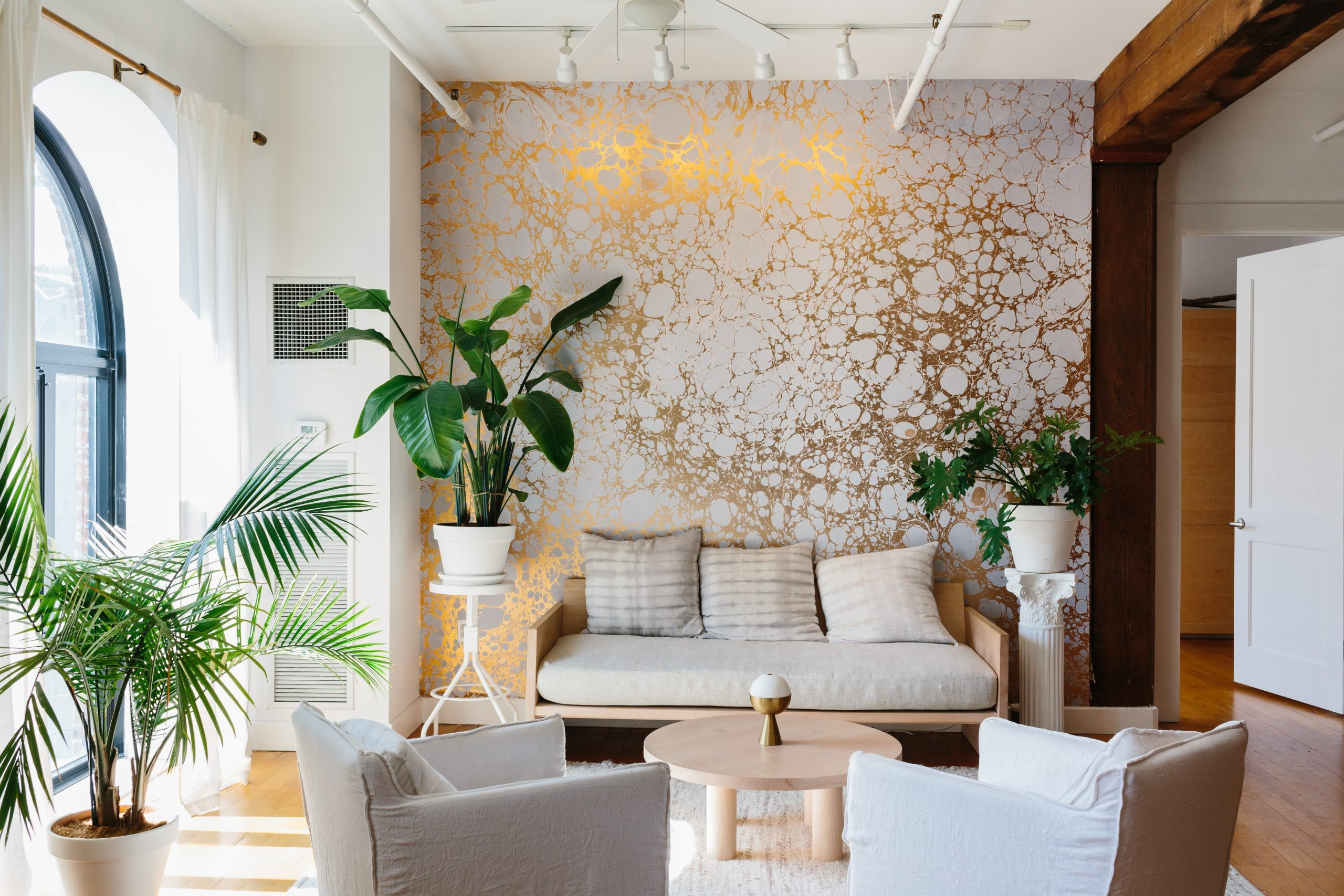 Interior of a designer's loft with an accent wall