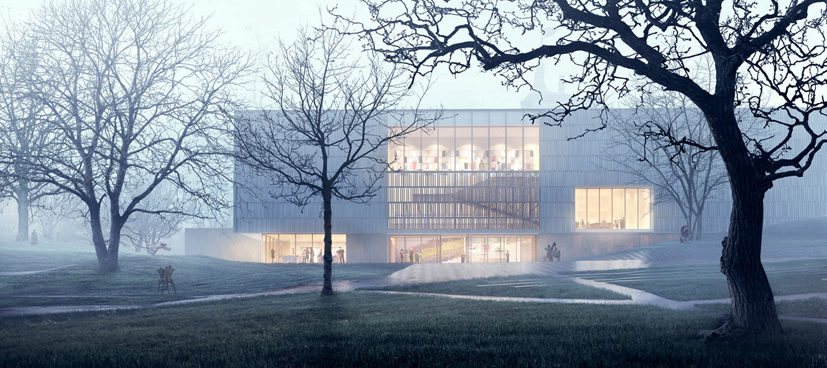 Rendering of light-filled museum in fog