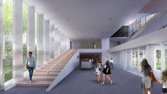 Interior rendering of light-filled lobby in the new Bruce Museum