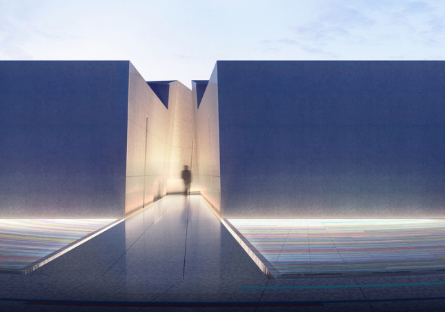 Rendering of memorial pathway with rainbow colored palette on basin of reflection pool