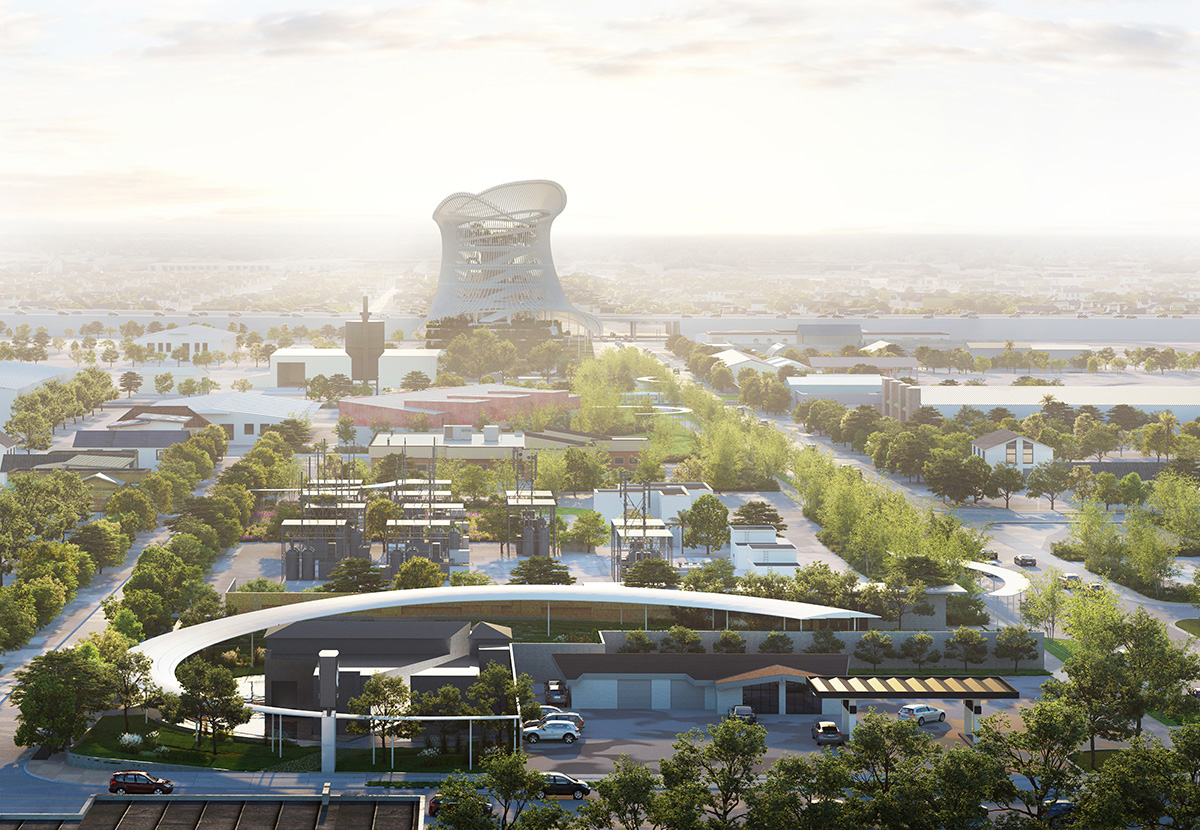 Aerial rendering of memorial and museum masterplan with towering spiral structure in distance