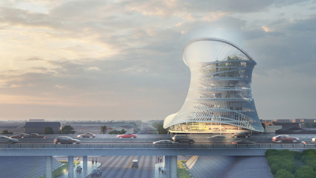 Rendering of the exterior of the Pulse Museum by Coldefy & Associés'