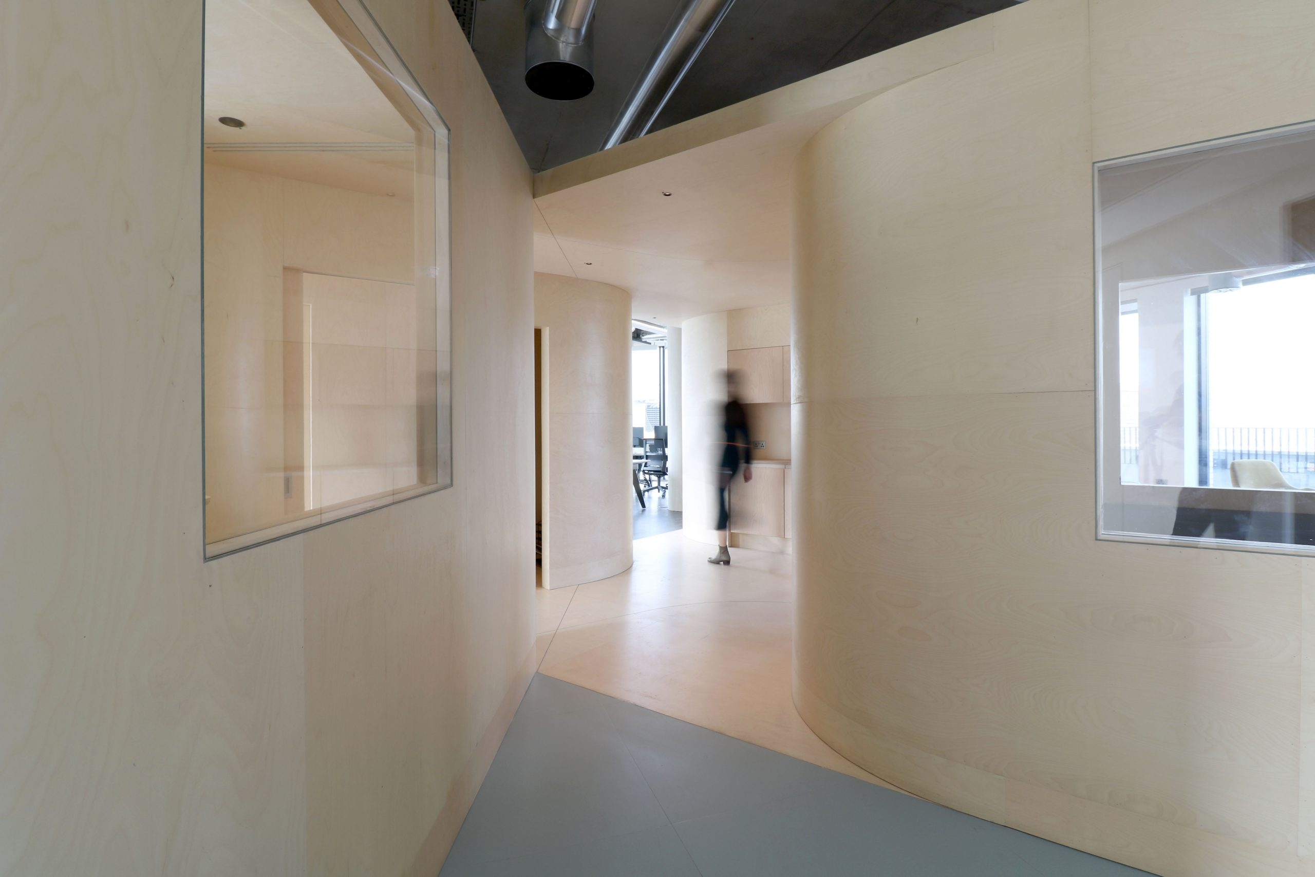 Interior of a plywood-clad office