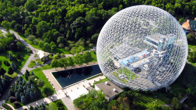 Aerial image of a giant geodesic dome