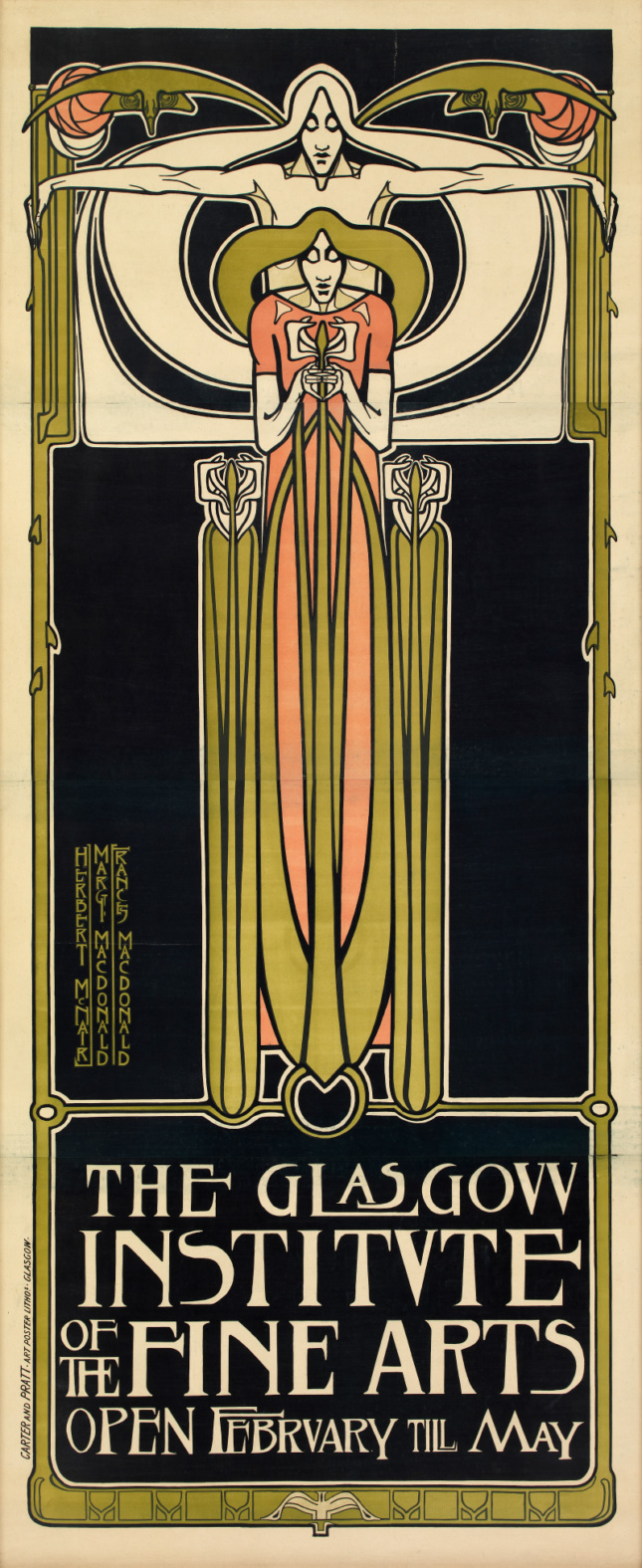 A long poster of two people standing over each other