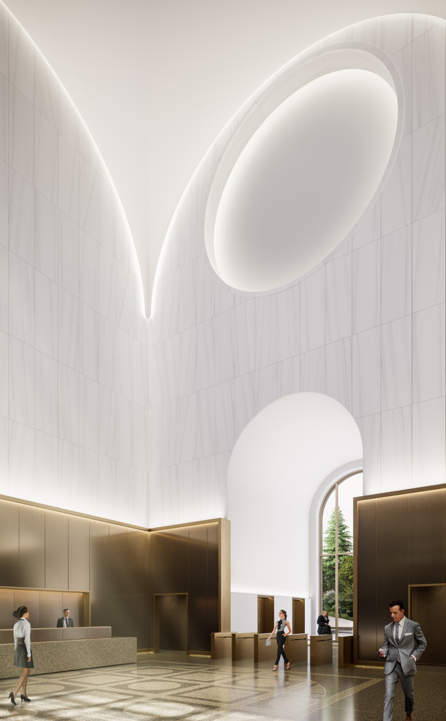A white disk shows through the top of a wall, with light accenting its edges and the edges of the arcs above