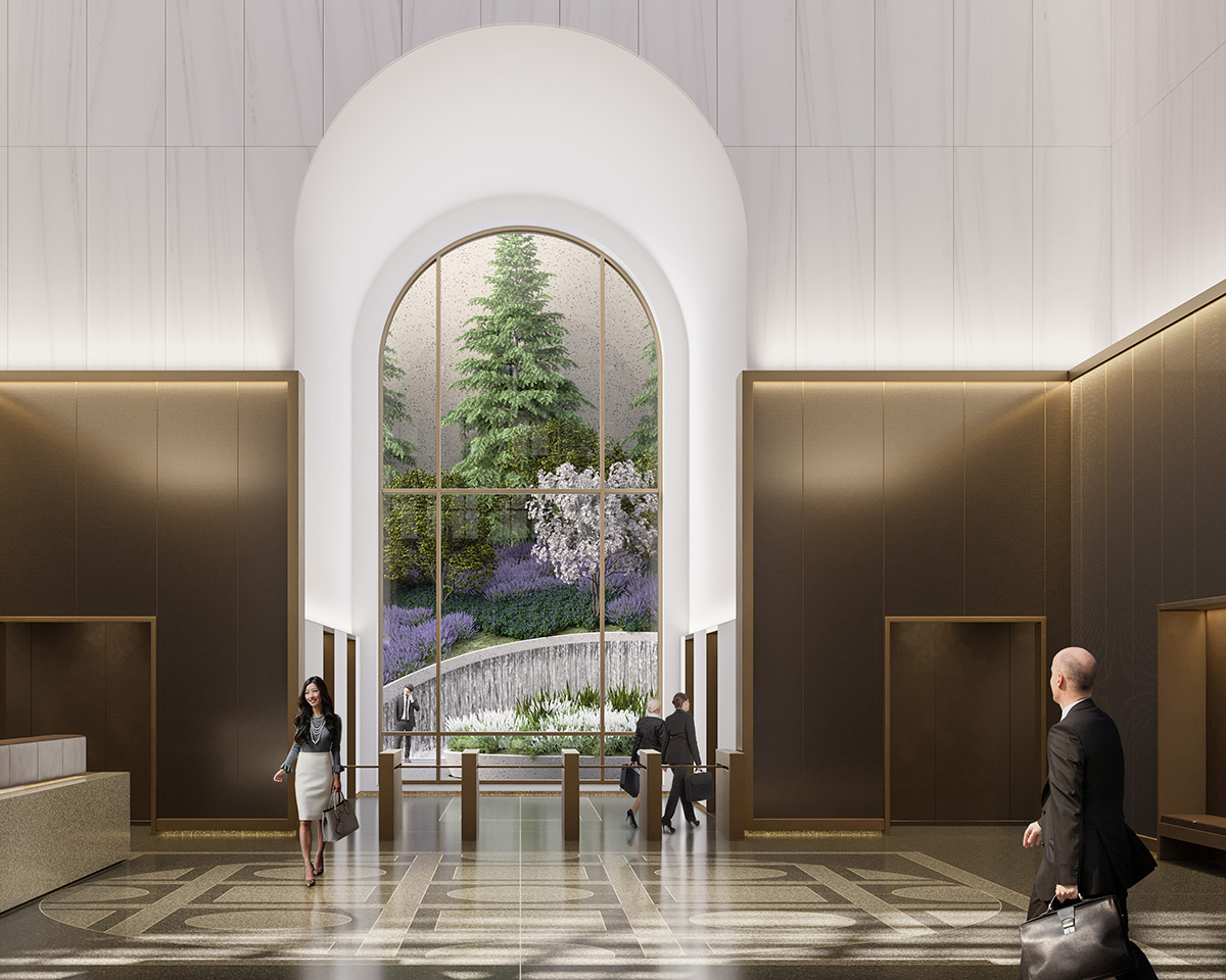 A lobby with geometric granite floor tiles, a low brass accented wall with white marble above. Through a mirror in an archway a garden is visible, in the AT&T Building