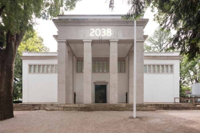 Rendering of stone building with the number 2038 on top at the Venice Architecture Biennale