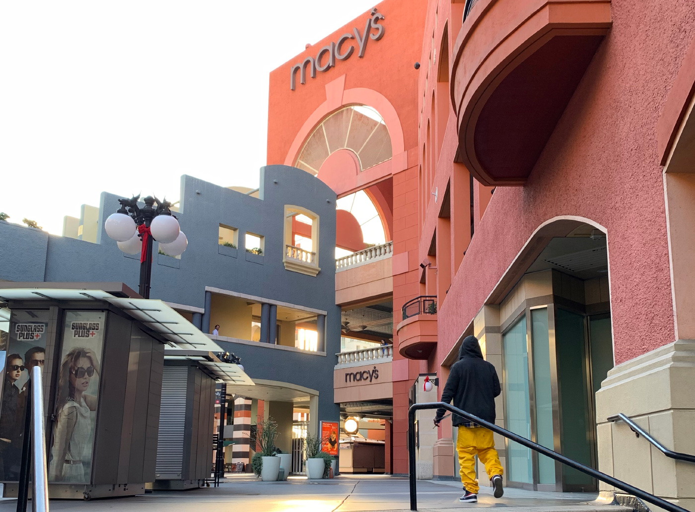 Ground-level view of a postmodern mall complex at horton plaza