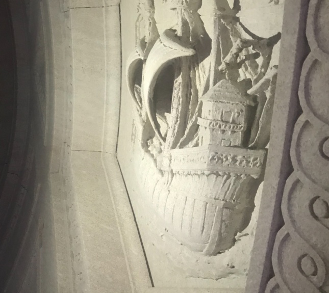 A detail of the sailboat relief on the Morgan Library porch ceiling