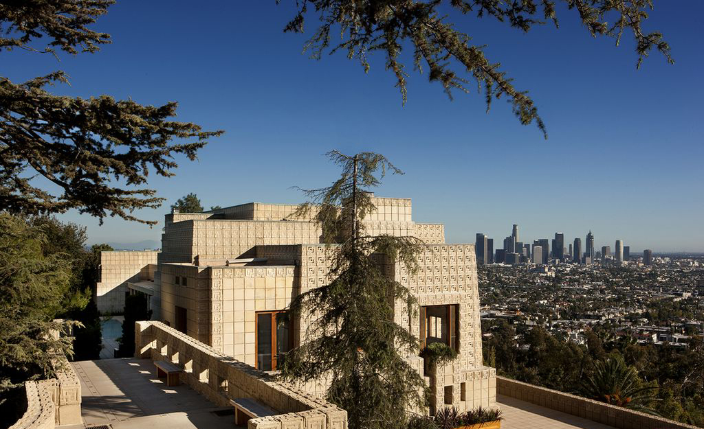 Exterior of shapely Frank Lloyd Wright mansion on hill in L.A.