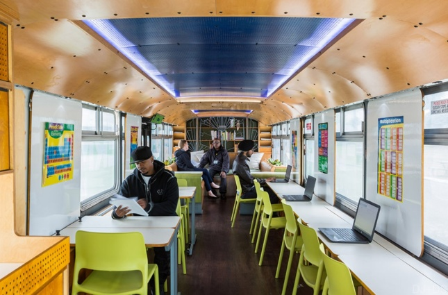 Interior of a bus converted to be a classroom