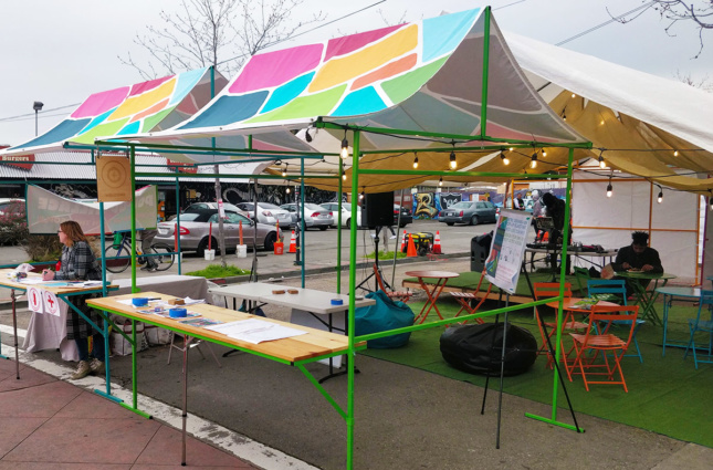 A series of pop-up tents