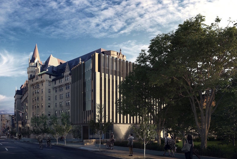 Rendering of historic Gothic Revival chateau-style hotel with modern boxy addition with strips of limestone cladding and glazing