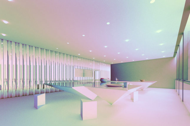 Rendering of the renovated cafe at the Everson Museum of Art