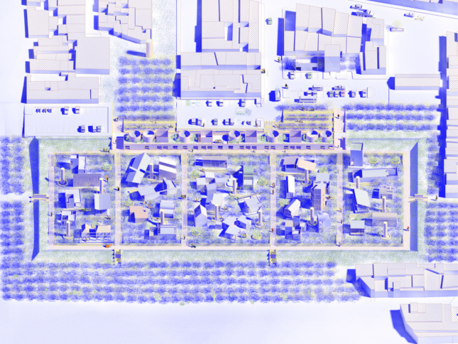A blue and white rendering showing 32 different housing types