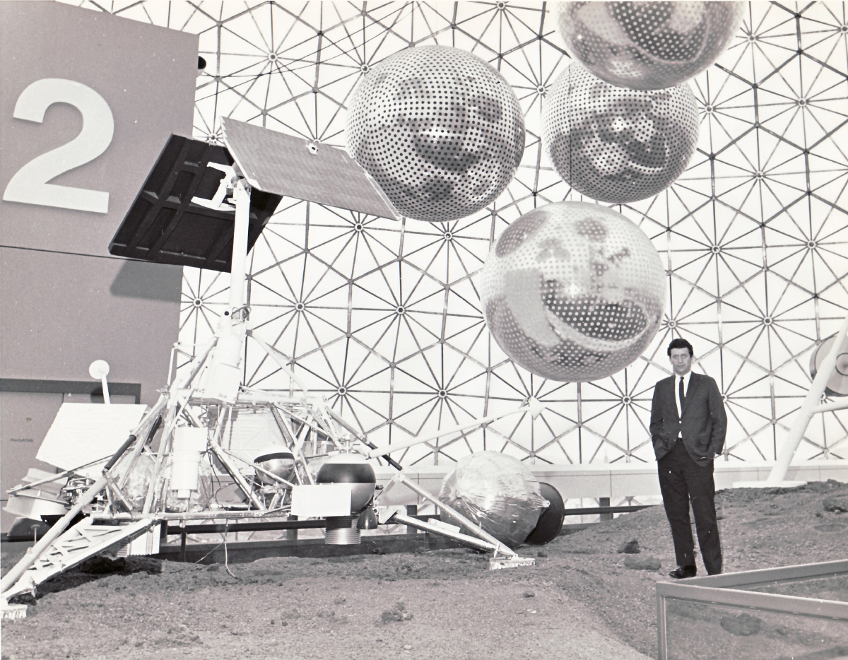 Interior photo of a sphere at the 1967 world's fair