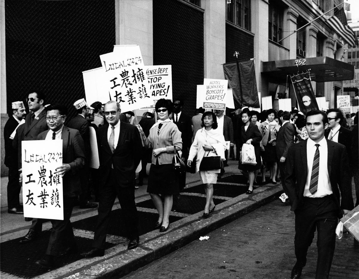 Photo of people walking on a picket line