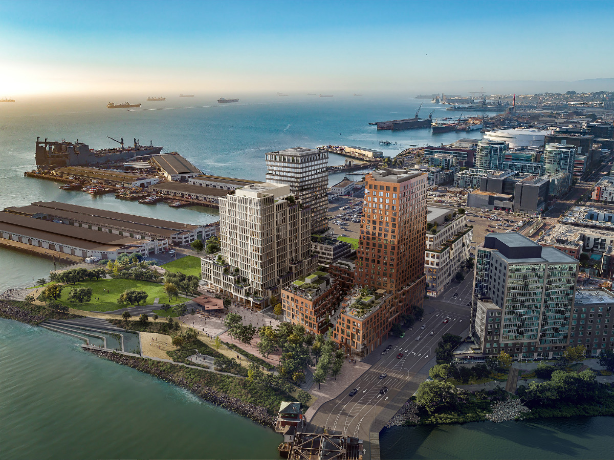 An aerial rendering of a brown tower with two lower sections split off among other towers on the San Francisco waterfront.