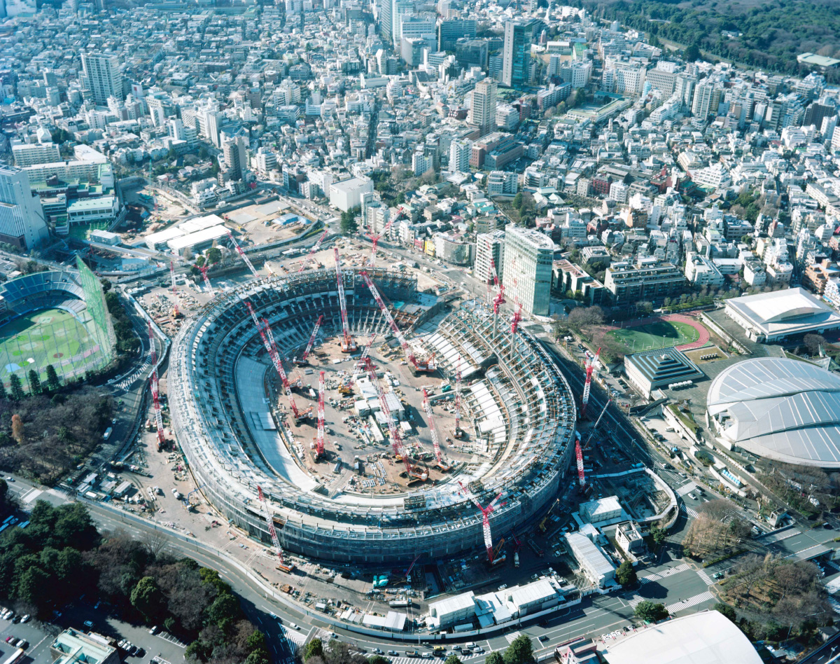 Aerial photo of Tokyo and an under construction stadium, presented at Made in Tokyo
