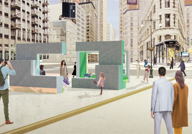 an rendering of a public design project shows people interacting with an installation located in a public square in new york city's flatiron district