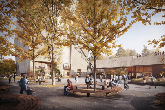 Exterior rendering of trees in the fall on the plaza of the complex