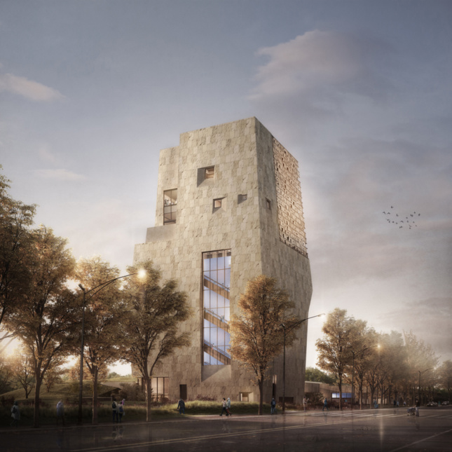 Exterior rendering of museum tower from main street