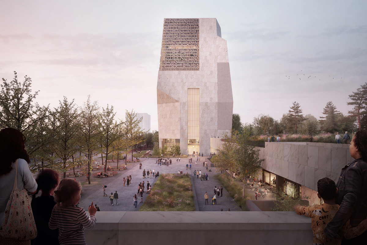 Exterior rendering shown from end of landscaped plaza looking at museum tower