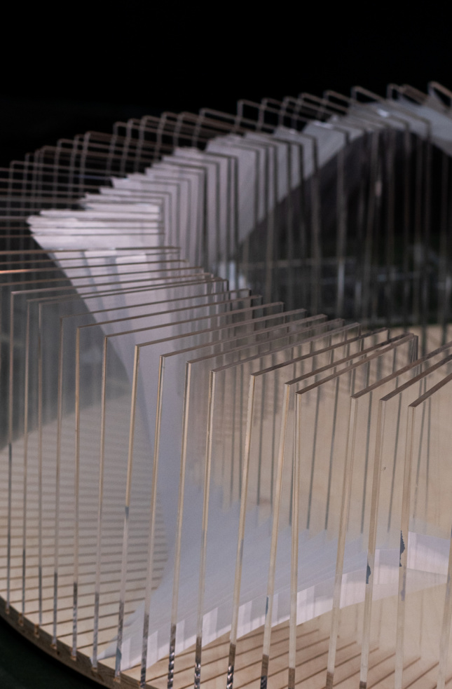 """A close up view of the plexiglass works """"On Loop"""""""