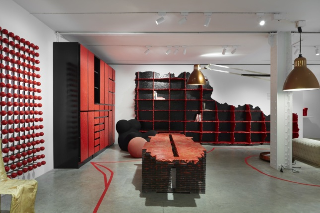 Display of melting red furniture designed by Gaetano Pesce