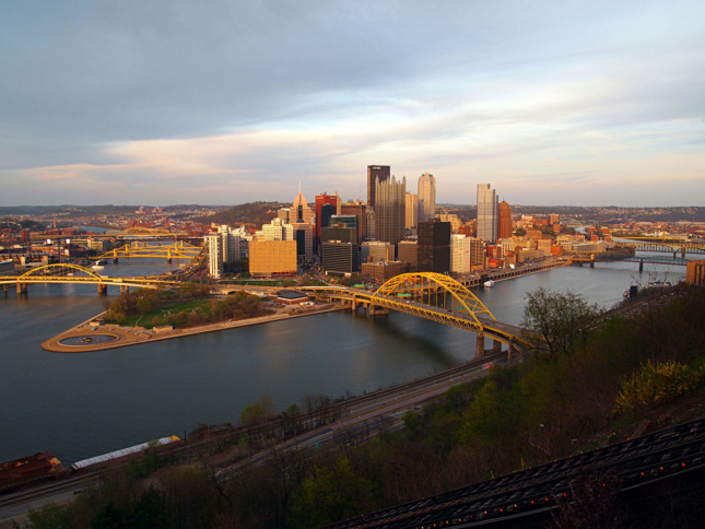 A view of the Pittsburgh skyline at sunset