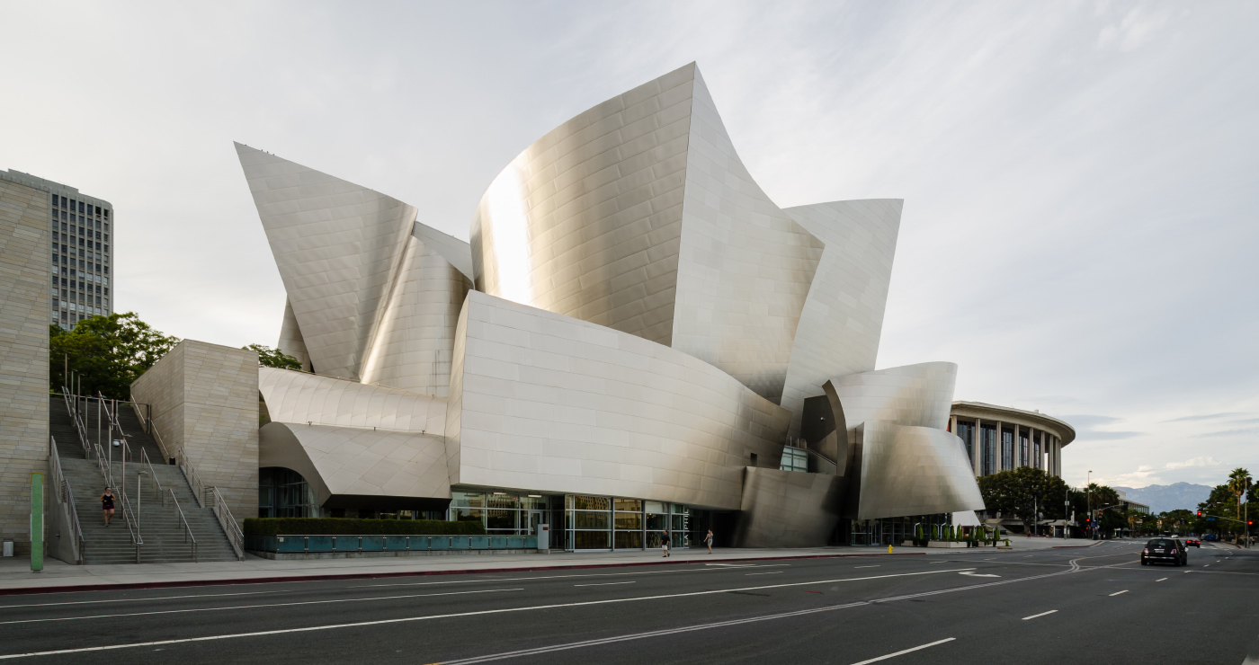 Photo of Frank Gehry's twisting concert hall in Los Angeles