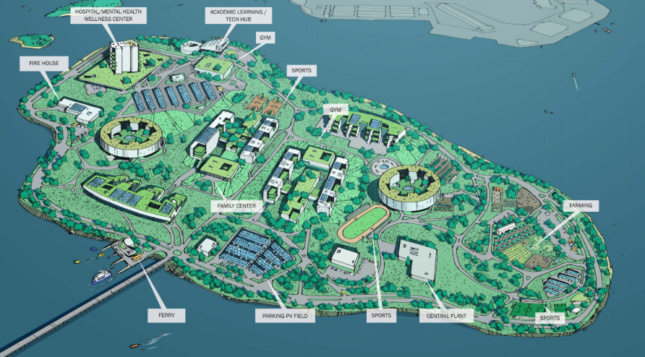A drawing of a map shows New York City's Rikers Island in an alternative plan to the current jail system on the island.