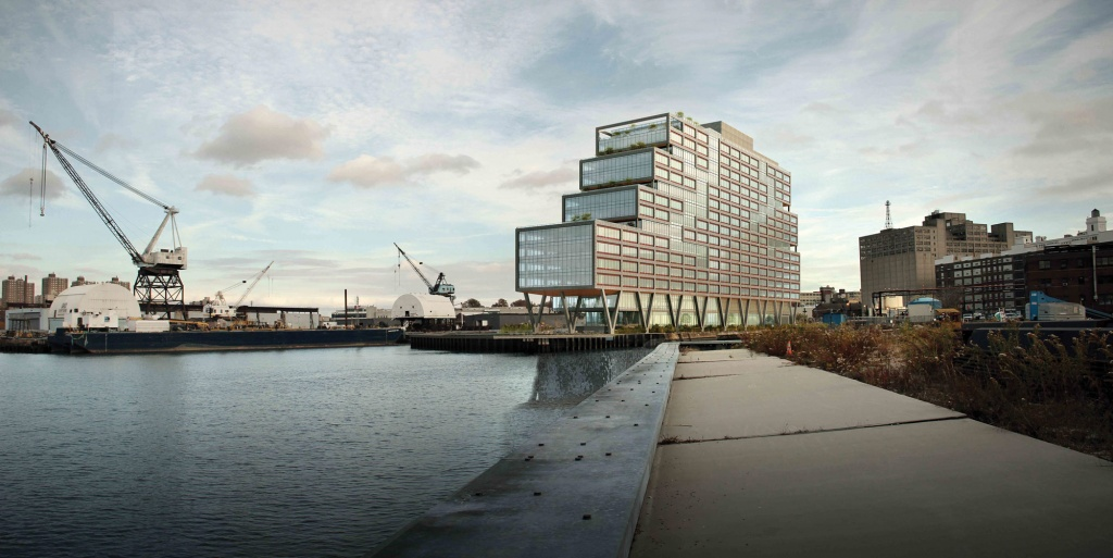 A render of a large building on stilts on the river.