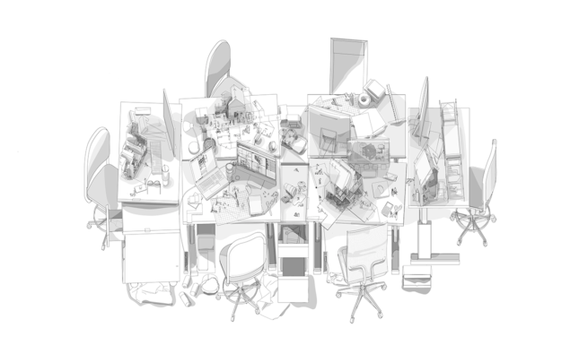 Drawing of a desk and chairs
