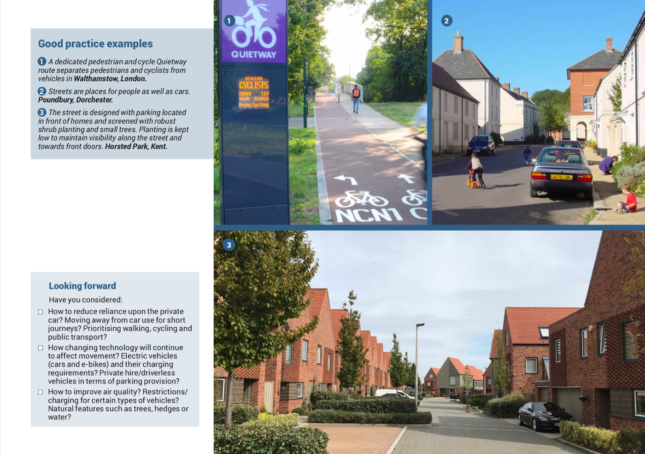 A slide in the National Design Guide showing different types of low-rising streets