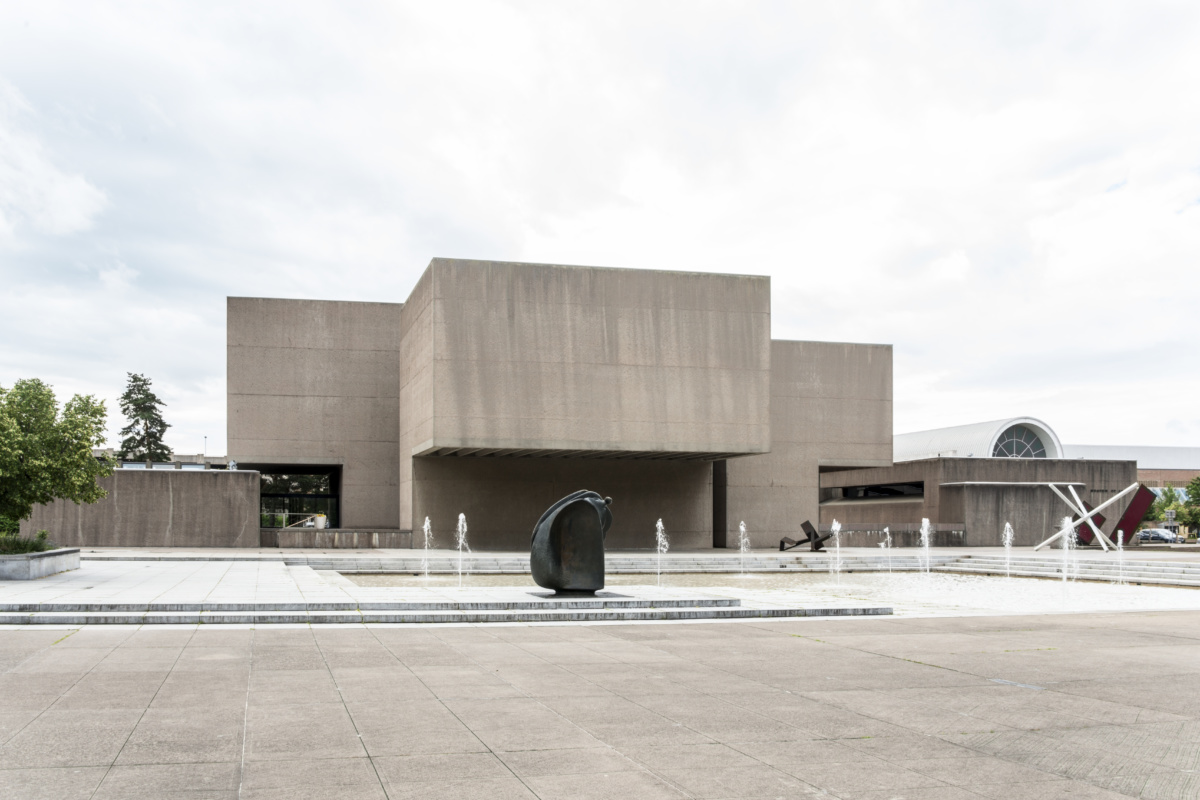 Exterior shot of concrete brutalist art museum and plaza