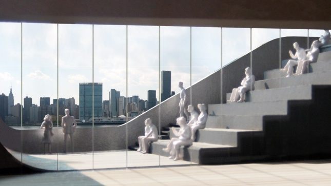 An architectural model by Steven Holl Architect's shows the staircase design for their new library. The Manhattan skyline is shown in the background.