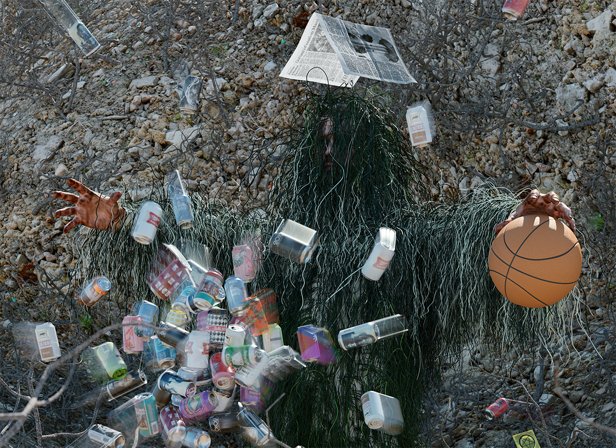 A person in a ghillie suit with empty cans and a basketball