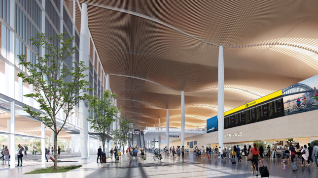 Interior rendering of a terminal arrivals gate