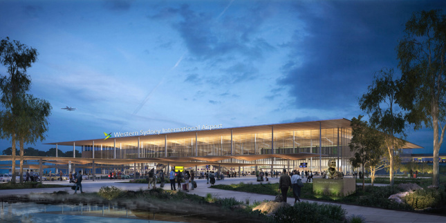 Exterior rendering of low-hanging terraced building at dusk featuring outdoor plaza