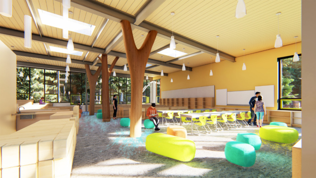 Interior rendering of a school with Y-shaped timber columns